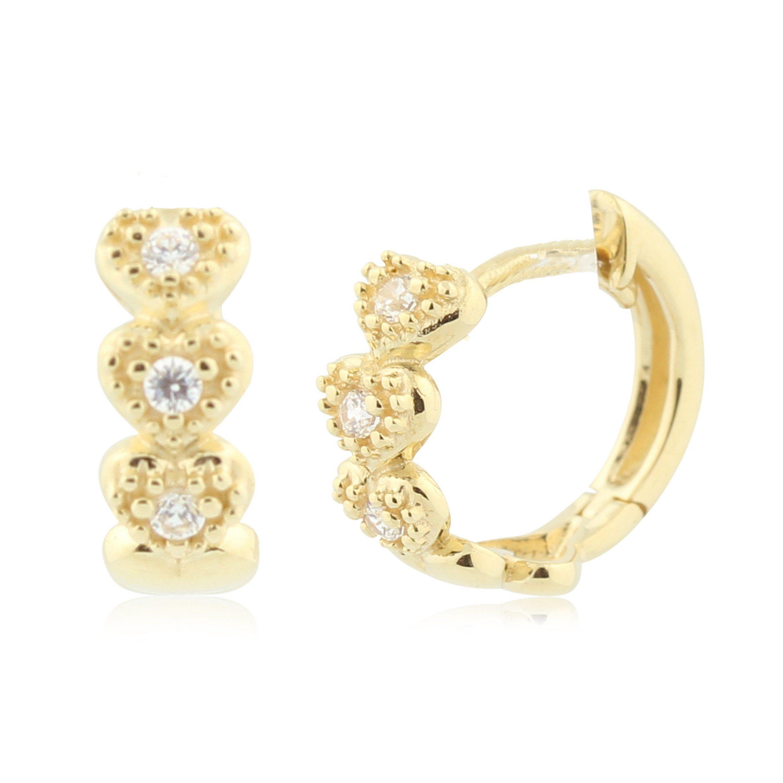 Heart Huggie Earrings in 14K Gold with CZ