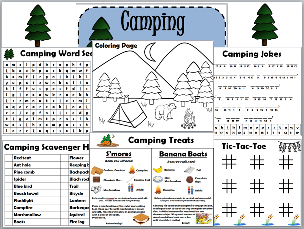 Pack Camping Activity Worksheet