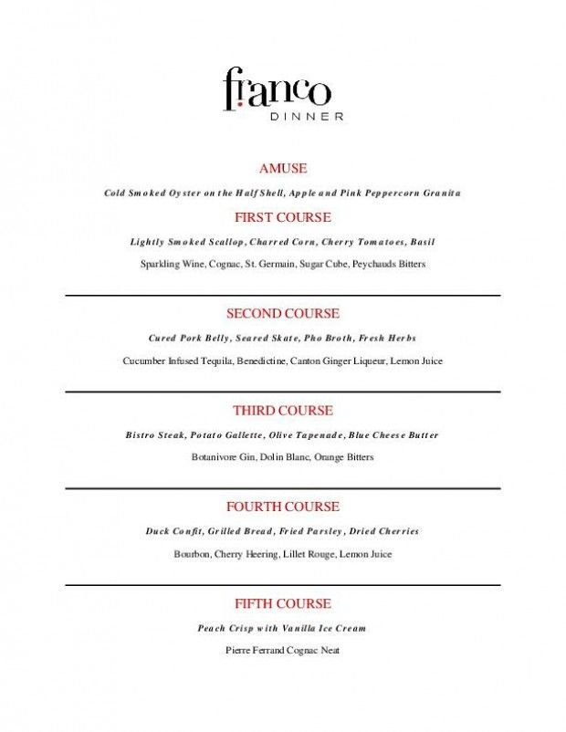 Franco 39 s five course cocktail menu five course dinners for 5 course meal ideas