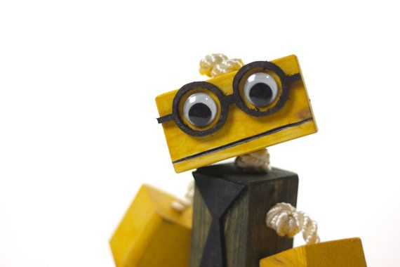 Nerd Wooden toy robot with glasses and tie wood by TANGLeAndFoLd