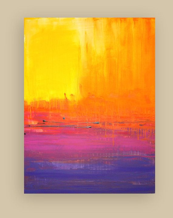 """Bright and Colorful Original Abstract Painting Titled: On the Horizon 3 30x40x1.5"""" by Ora Birenbaum"""