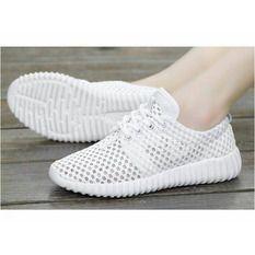 Kefir Organik Sepatu Kets Jaring Putih Solid Putih Sepatu
