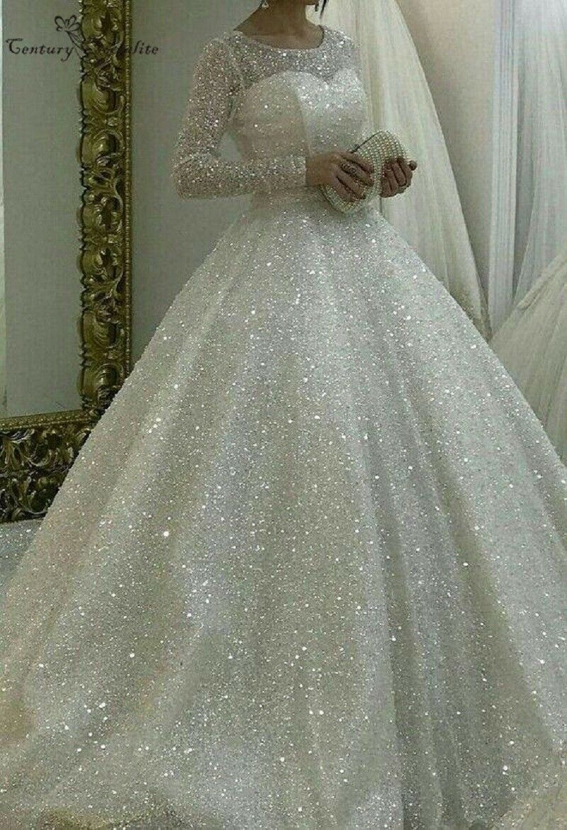 Shiny Princess Wedding Dresses 2020 Ball Gown Long Sleeves Plus Size Bridal Gown Sparkle Wedding Dress Ball Gowns Wedding Wedding Dresses [ 1171 x 800 Pixel ]