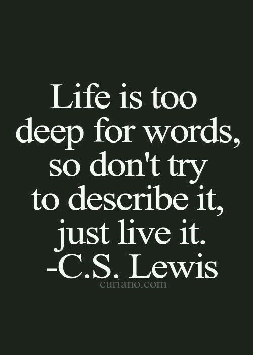 Let's just live it