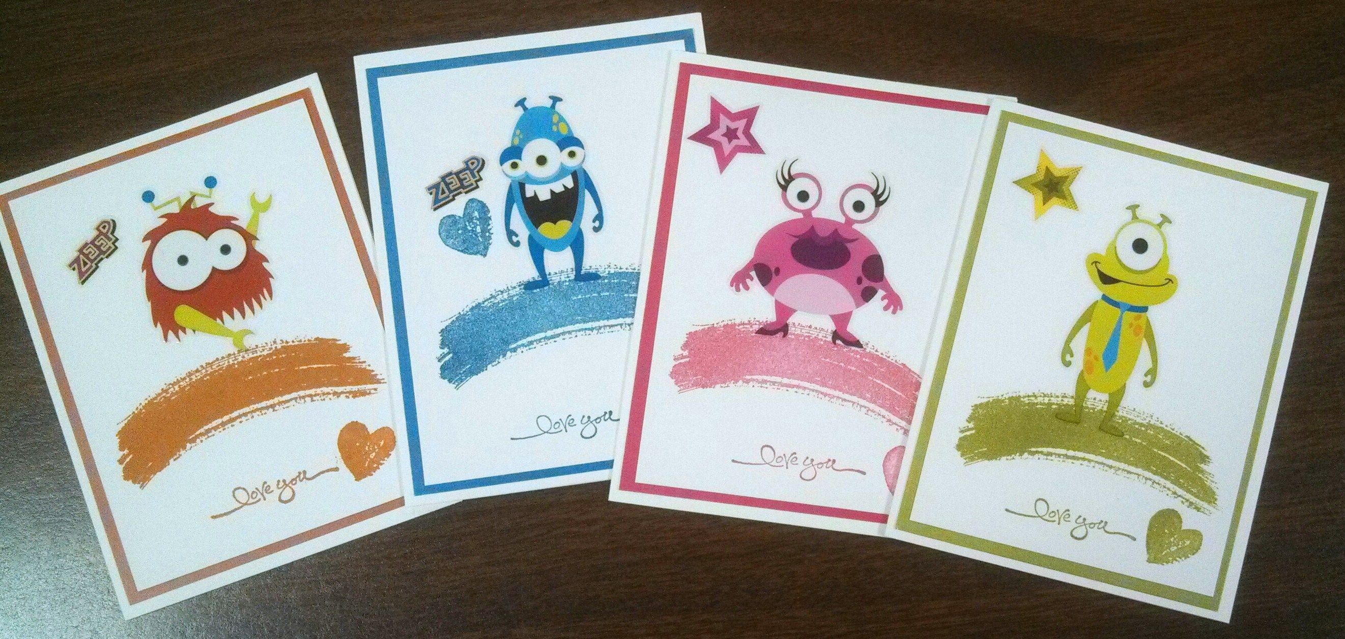 Love You cards made for OWH with the cutest little friendly monster stickers by The Paper Studio and the Work of Art stamp set by Stampin Up.  These made great cards for our Heroes to send back home to their kiddos
