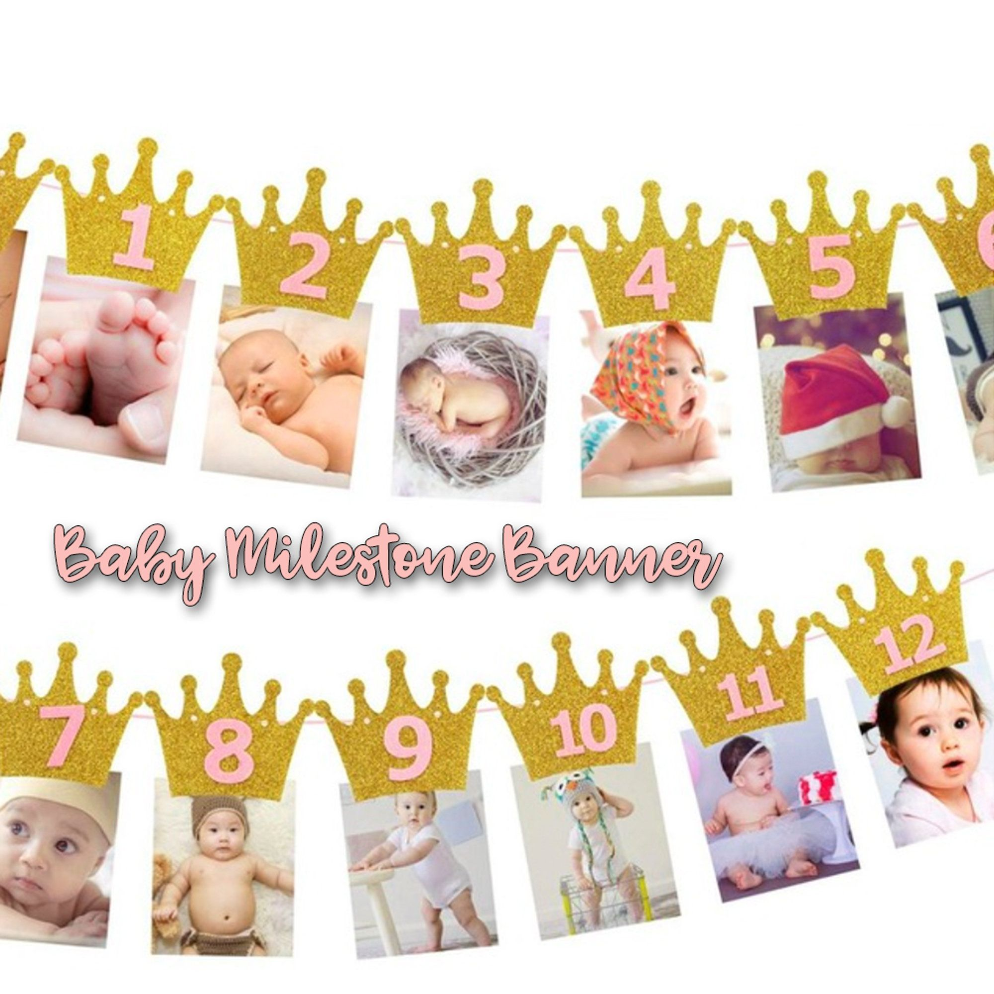 Birthday Banner First Year Photo Banner 1st Birthday Photo Etsy In 2020 Birthday Photo Banner First Birthday Banners Baby Birthday Banner