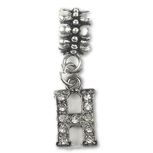 Premium Charm A-Z Letter C Bracelet Alloy Silver Bead Gift Plated Crystal