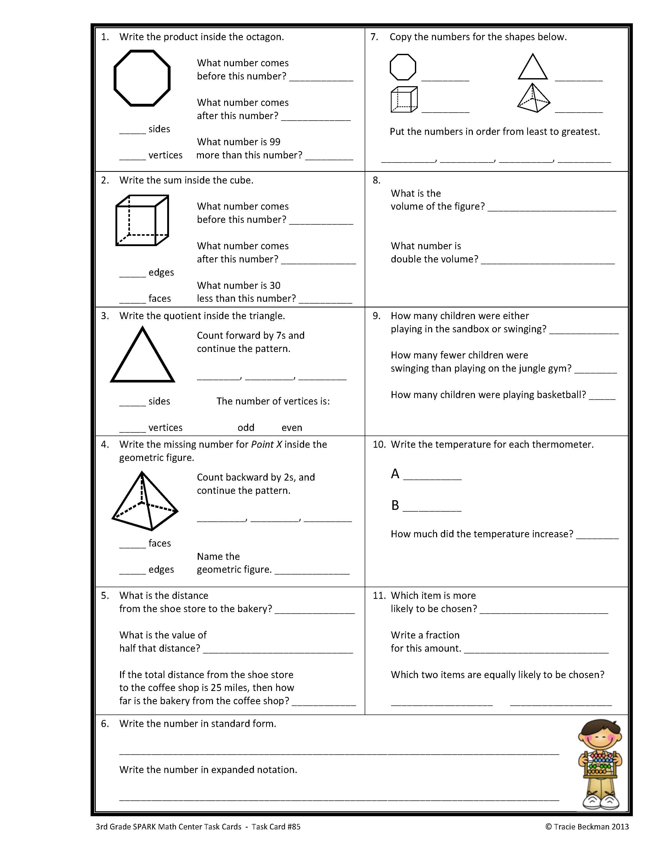 Spiraled Staar Common Core Math Review For 3rd Grade Complete