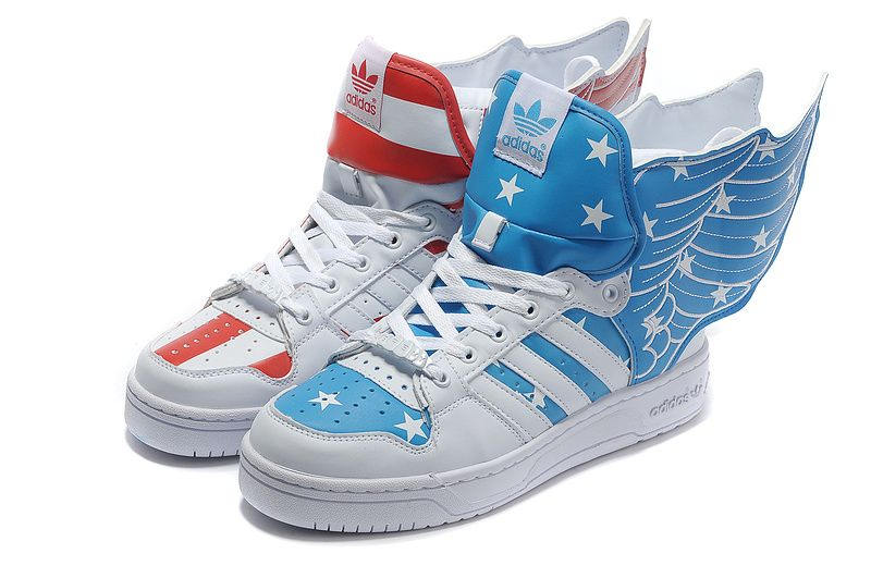 brand new ab90a b9432 Adidas Jeremy Scott Wings 2.0 American Flags Red Blue