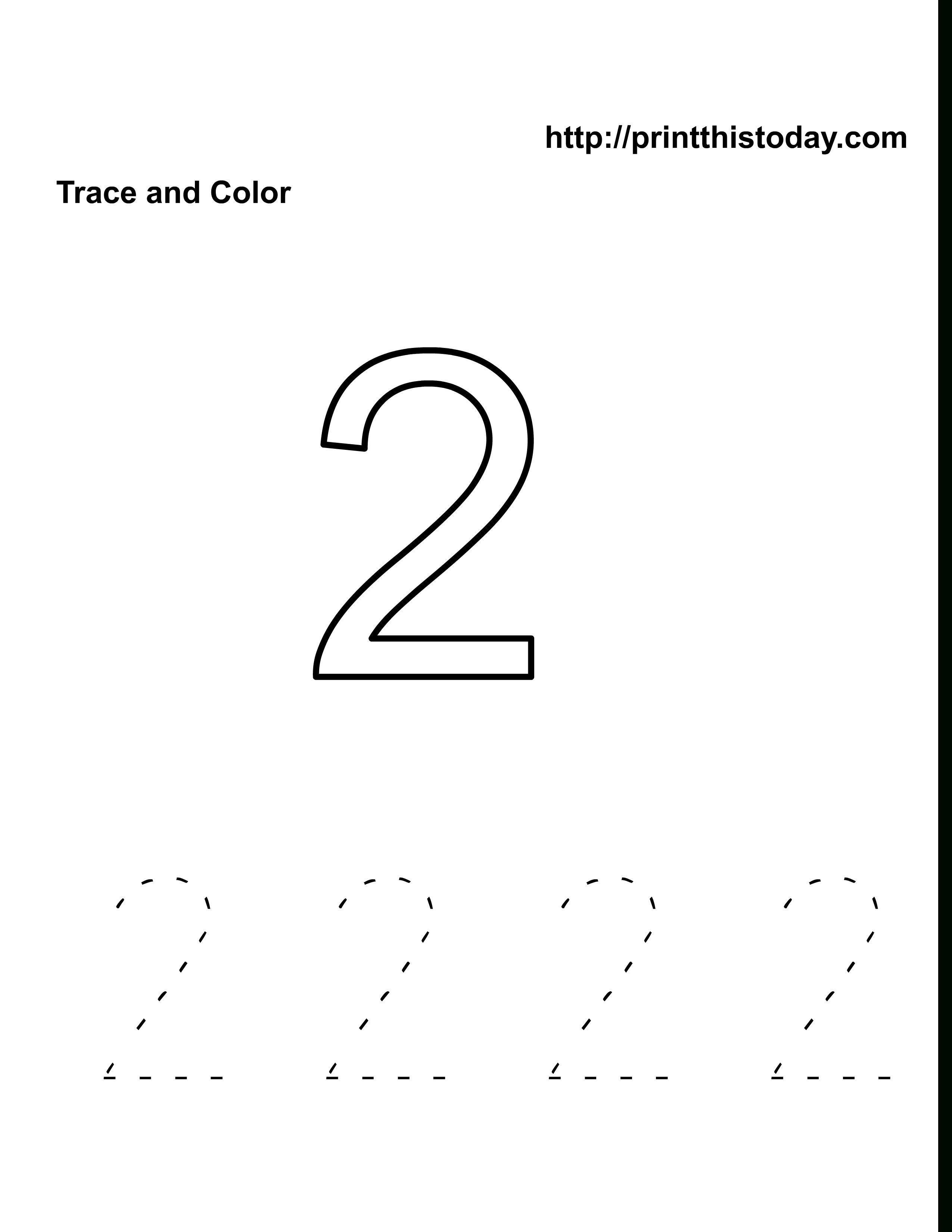 Number 2 Worksheets Dengan Gambar