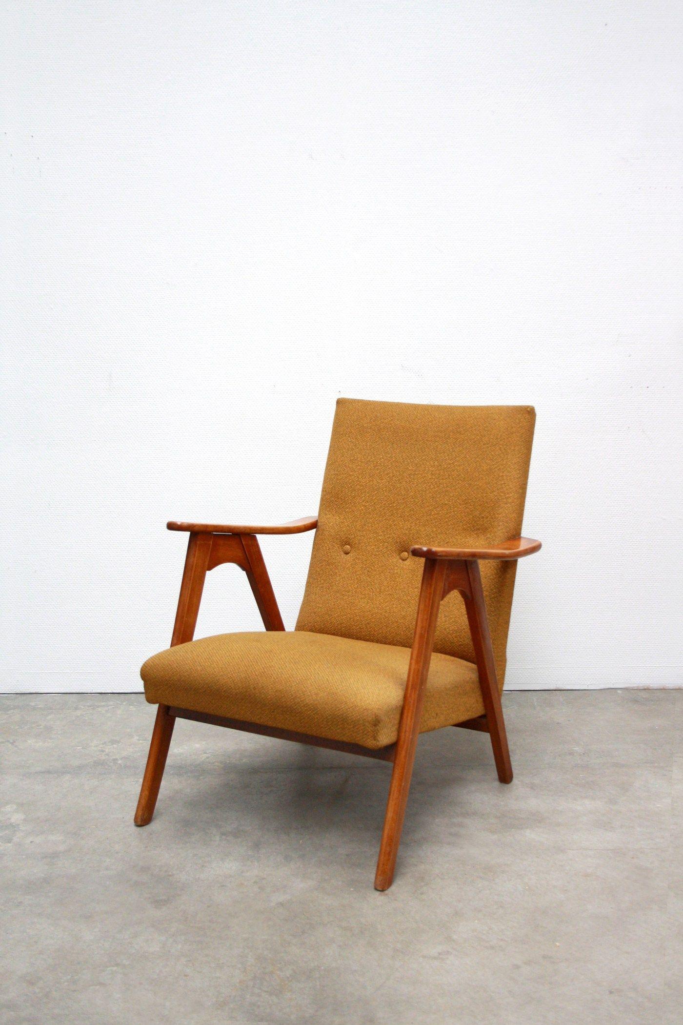 Okergele Deens design fauteuil essenhout www.vanons.eu | Vintage ...
