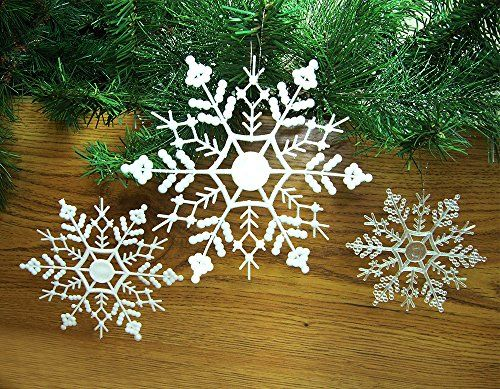 Snowflake Ornament Set You Will Receive 24 Clear Irridescent 4 Inch Snowflakes 12 White Glitt Snowflake Decorations Snowflake Ornaments Christmas Ornaments