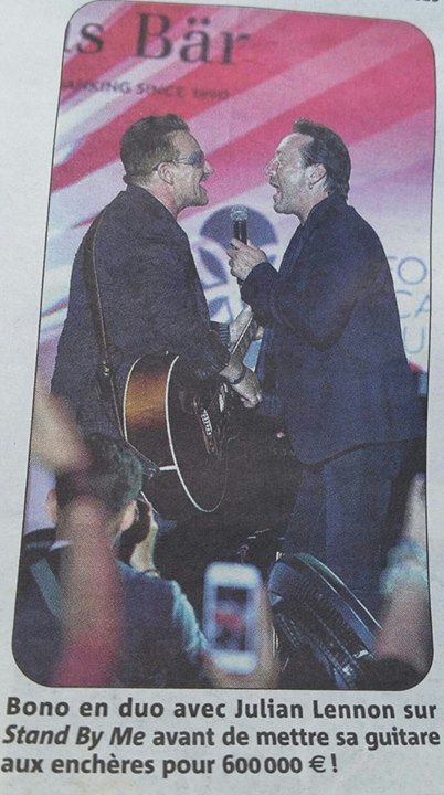 "Bono (U2) and Julian Lennon singing ""Stand By Me"" at the Leonardo DiCaprio charity event 2014 in the South of France (Saint Tropez). /  #u2NewsActualite #PaulHewson #u2 #music #rock #2014 #bono #france #SaintTropez #StTropez  * picture link www.facebook.com/photo.php?fbid=10153091466061564&set=p.10153091466061564&type=1 by Delphine Boussageon www.facebook.com/delphine.boussageon"