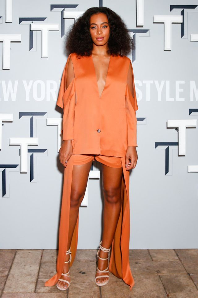Hot! or Hmm…: Solange Knowles's T Magazine Celebrates The Greats Chayalan Orange Tunic, Shorts, and Stuart Weitzman