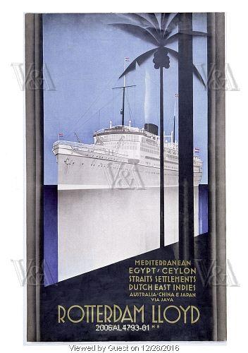 Rotterdam Lloyd Royal Mail Line, poster by Johann von Stein. Rotterdam, Netherlands, c.1930. EDITORIAL USE ONLY