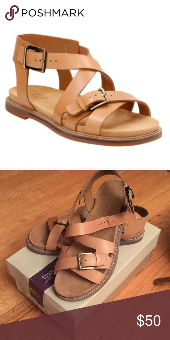 4246dd11f6f NWT Clarks Corsio Bambi Sandals Clarks comfort sandals in light tan leather.  Never worn. Clarks Shoes Sandals