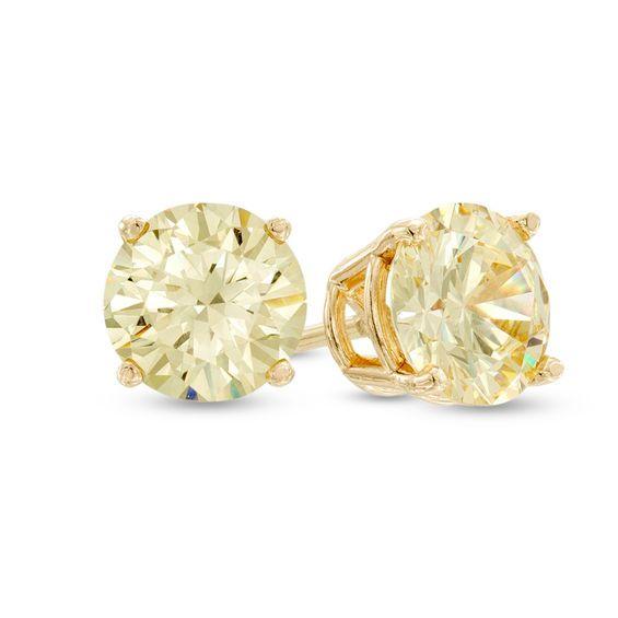 2 1 8 Ct T W Enhanced Yellow Diamond Solitaire Stud