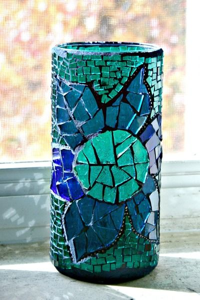 Mosaic Stained Glass Vase Flower Blue Green And Purple 75