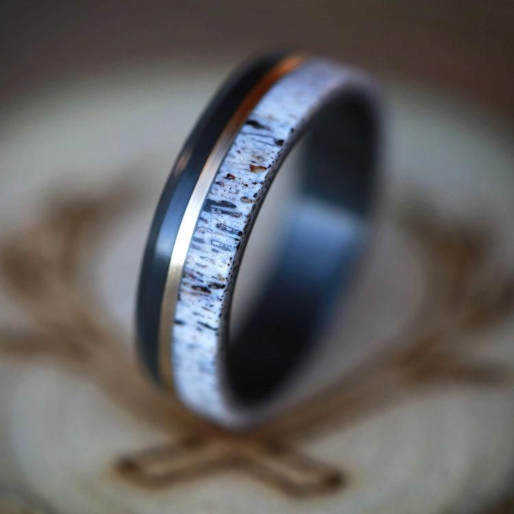"""THE """"TANNER"""" IN BLACK ZIRCONIUM WITH ELK ANTLER AND A 14K GOLD INLAY (available in silver, black zirconium, damascus steel & 14K white, rose, or yellow gold) — Staghead Designs 