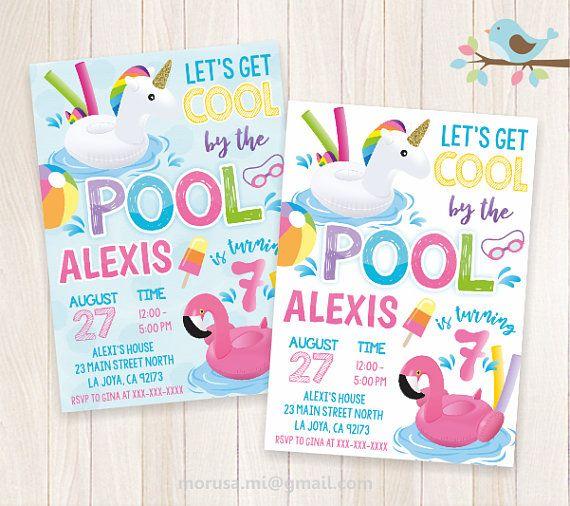 Unicorn Flamingo Float Pooll Party Invitation Printable No