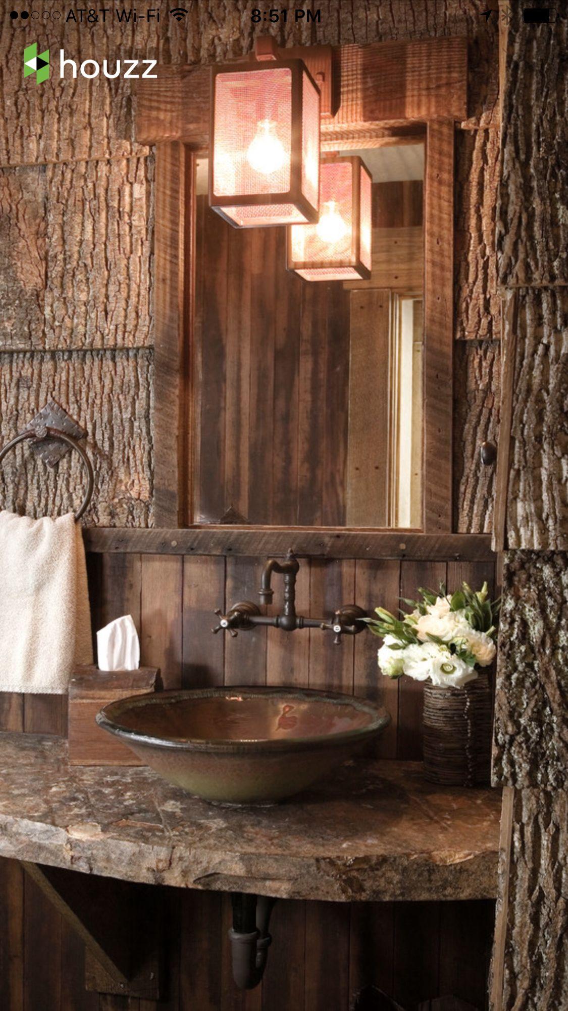 Log cabin powder room Cabin Pinterest