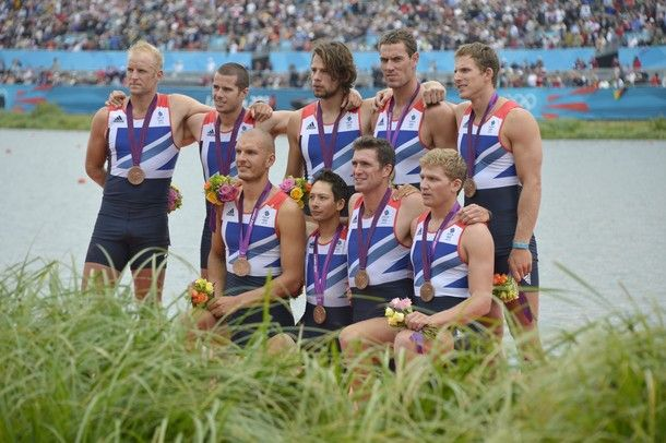 Great Britain's team poses on the podium after receiving their bronze medals won in the men's eight final A of the rowing event during the London 2012 Olympic Games, at Eton Dorney Rowing Centre in Eton, west of London, on August 1, 2012.