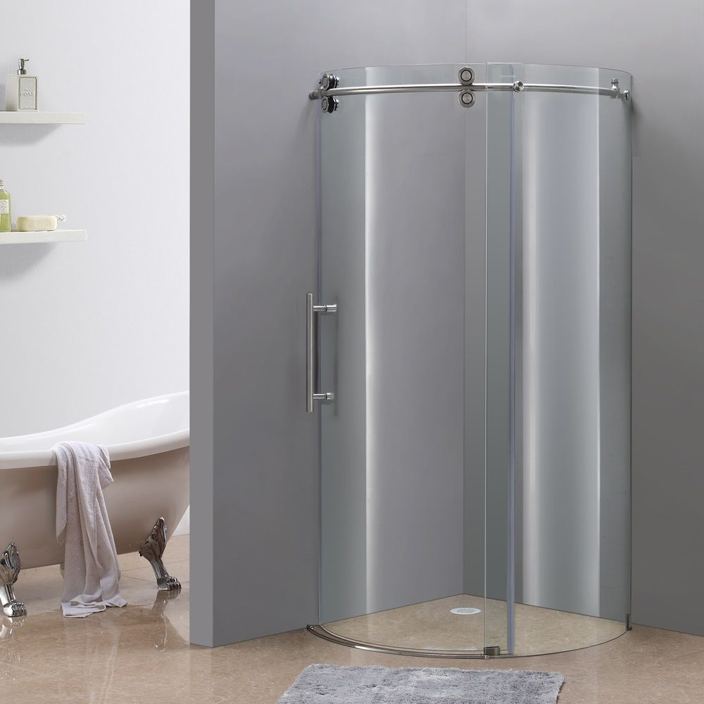 Orbitus 36 Inch X 36 Inch X 75 Inch Frameless Round Shower Stall