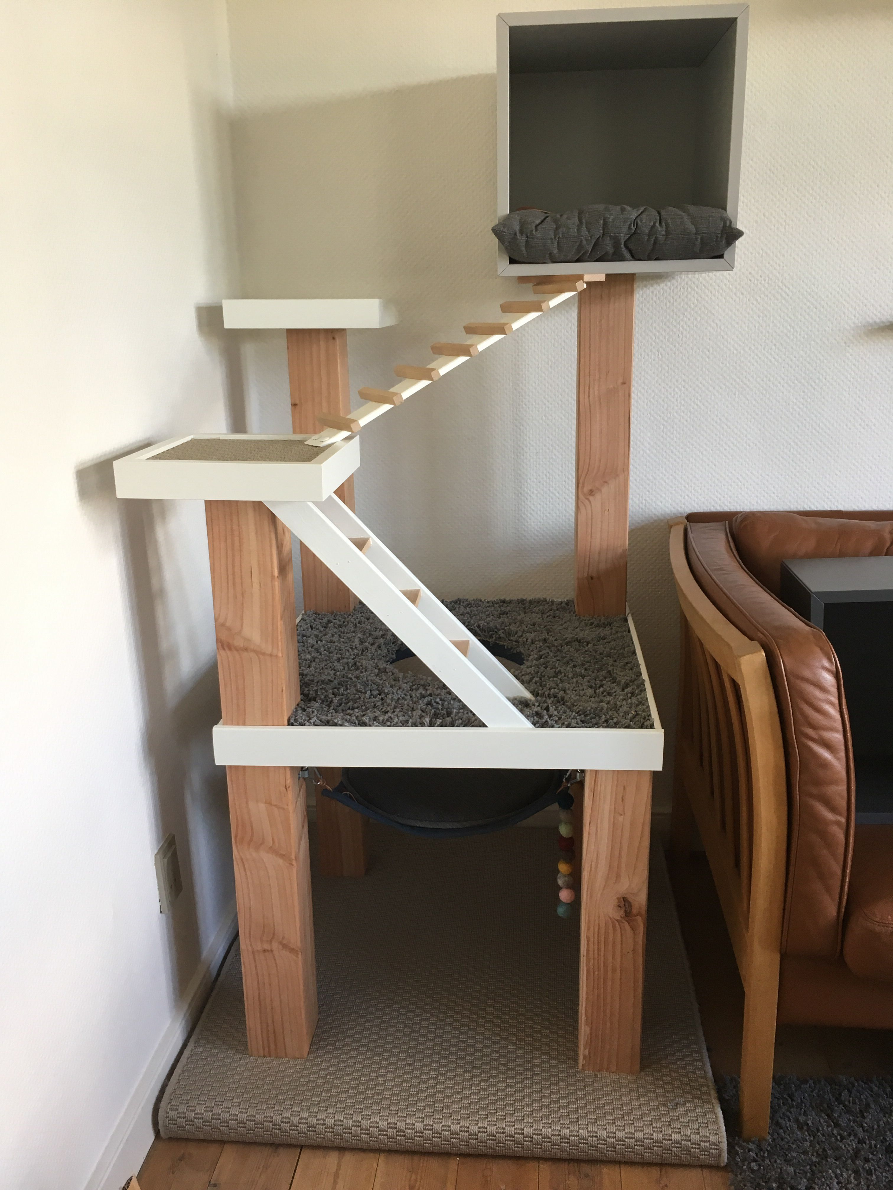 Diy Cat Tree Scratching Post With Stairs And Hammock Made Of