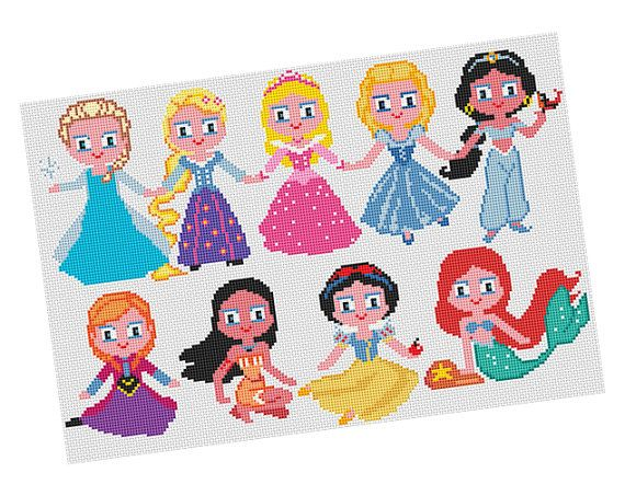 PRINCESSES Cross stitch Pattern PDF  Elsa Rapunzel by POWSTITCH