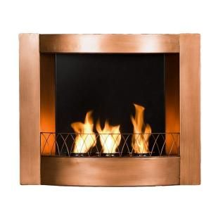 Southern Enterprises 27 In Wall Mount Gel Fuel Fireplace In Painted Copper Fa5805 At The Home Depot Gel Fireplace Wall Mount Fireplace Wall Mounted Fireplace