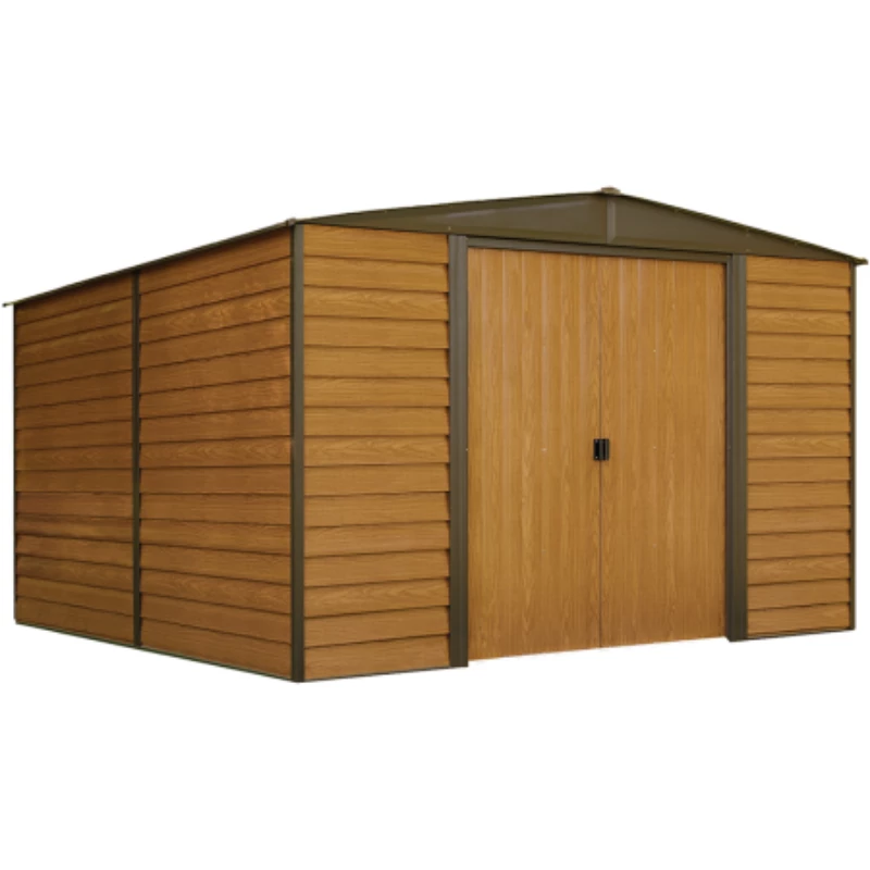 Arrow Wr106 Woodridge 10x6 Electro Galvanized Steel Coffee Woodgrain Low Gable 71 3 Wall Height Sliding Doors Steel Storage Sheds Metal Storage Sheds Steel Sheds
