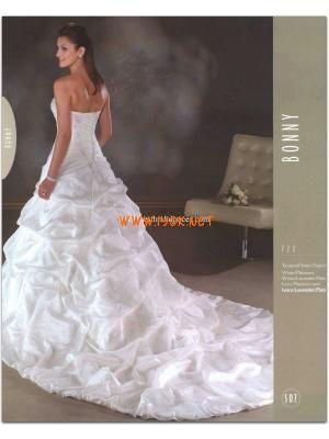 Strapless Princess White Applique Satin Wedding Gowns Dress Online 2013