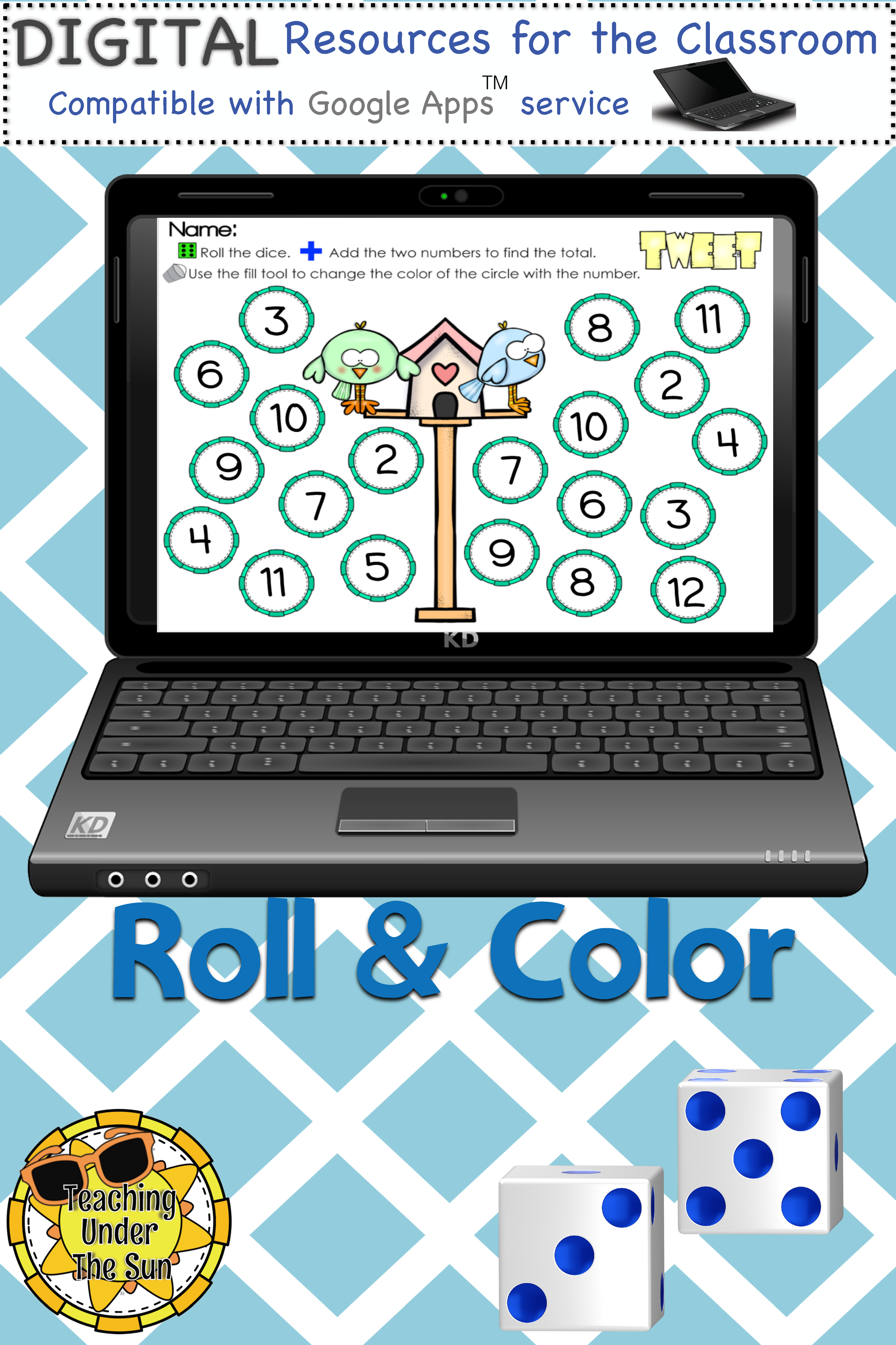 Roll and Color, Numbers, Counting, Addition, Google, Digital, Math ...
