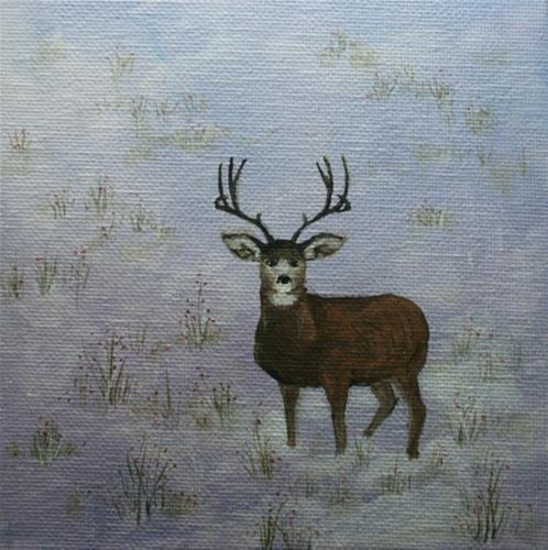 """""""Mule Deer in Winter"""" - Original Fine Art for Sale - © Jean Nelson"""