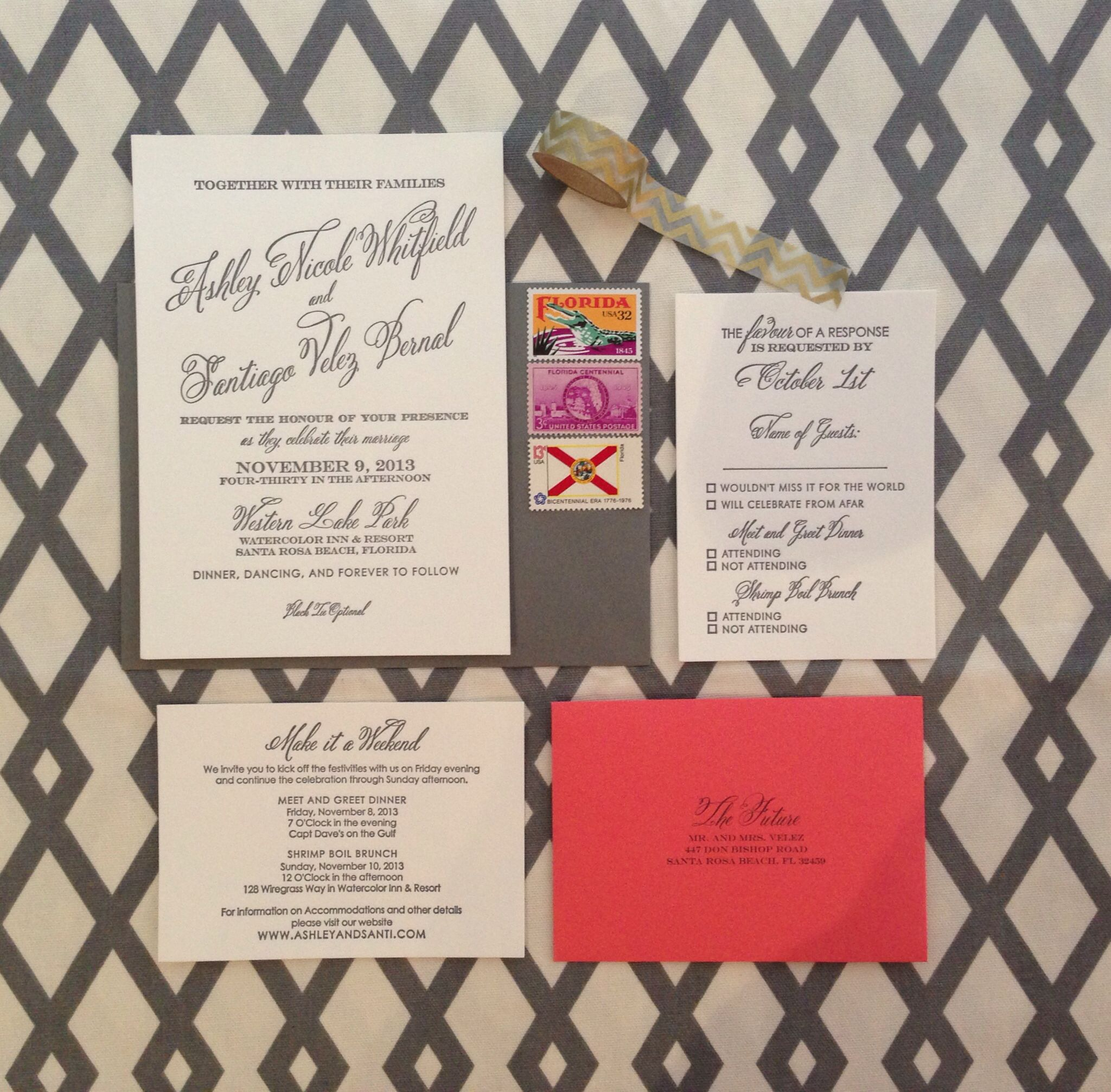 Our #Grey and #Coral Wedding Invitation Suites by #ConfettiGrey | [W ...