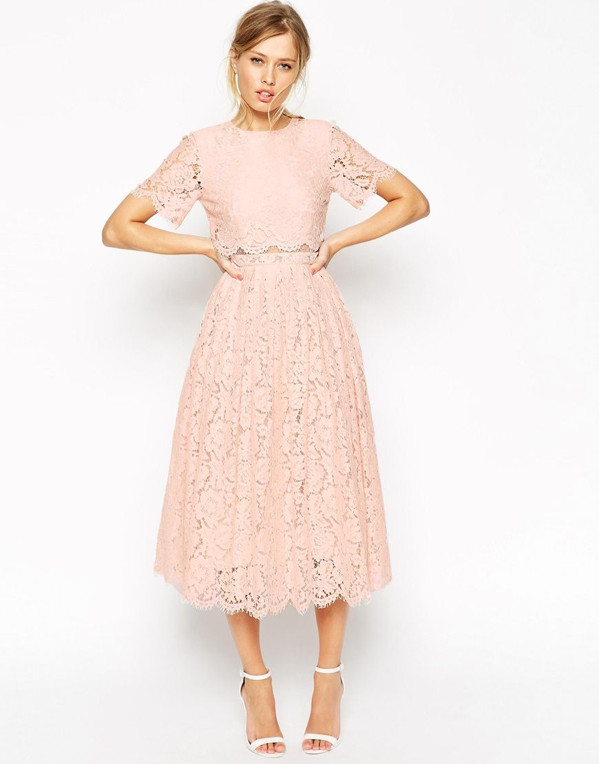 cc30b4b8d7a Image 4 of ASOS PETITE SALON Lace Crop Top Midi Prom Dress ...