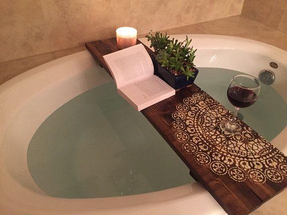 Mandala Bath Caddy Bathtub Tray Rustic Bathtub Caddy