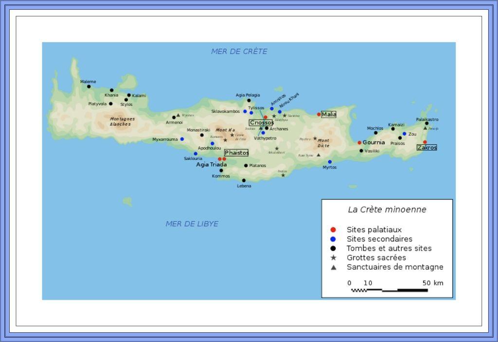 Carte Crete Minoenne.Carte De La Civilisation Minoenne Crete Santorin Poterie