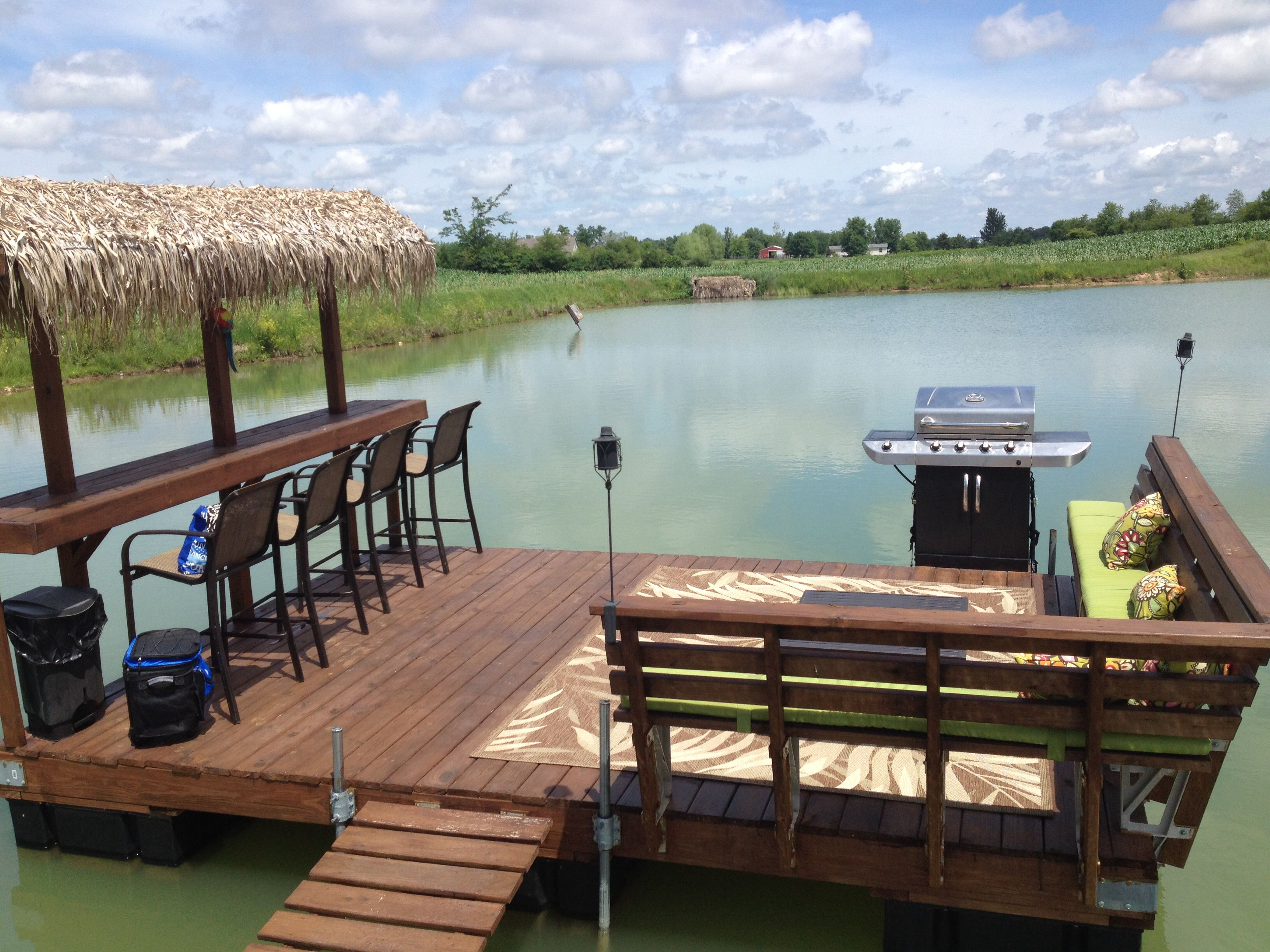 Floating dock tiki bar on our pond outdoor pinterest tiki bars pond and bar Lake home design ideas