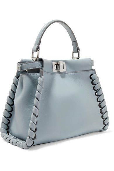 008500f5ca Fendi - Peekaboo Mini Whipstitched Leather Shoulder Bag - Light blue ...