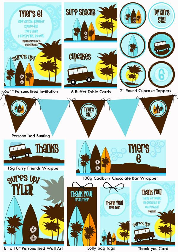 Surf\'s Up Party Printable | 9th bday ideas for the boy | Pinterest ...