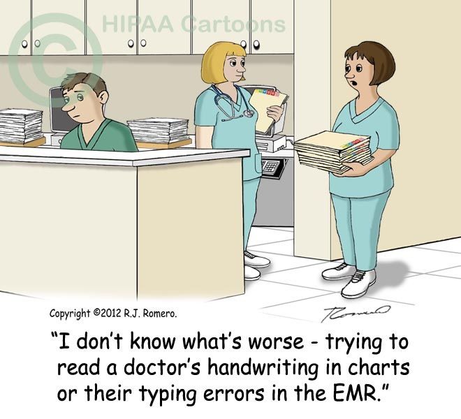 Cartoon Nurses Talking About Doctor Handwriting Vs Typo In