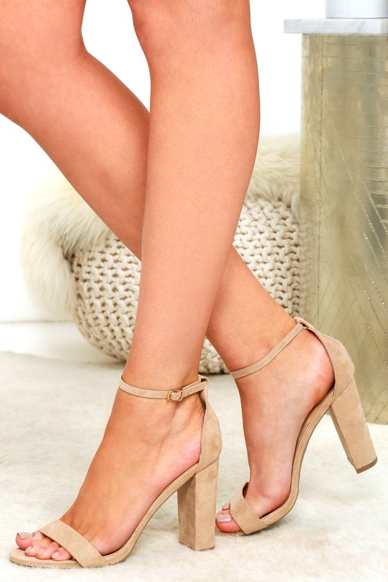 Taylor Natural Suede Ankle Strap Heels
