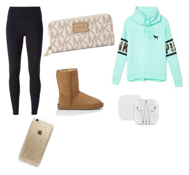 """Mall?!?"" by alexandracampbell19 ❤ liked on Polyvore featuring NIKE, Victoria's Secret PINK, UGG Australia, Michael Kors and Rifle Paper Co"