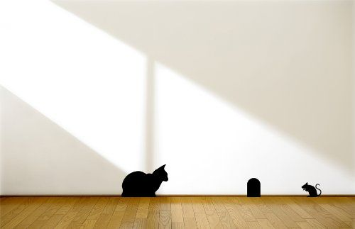 Cat and Mouse Peel and Stick Vinyl Wall Decal Stickers