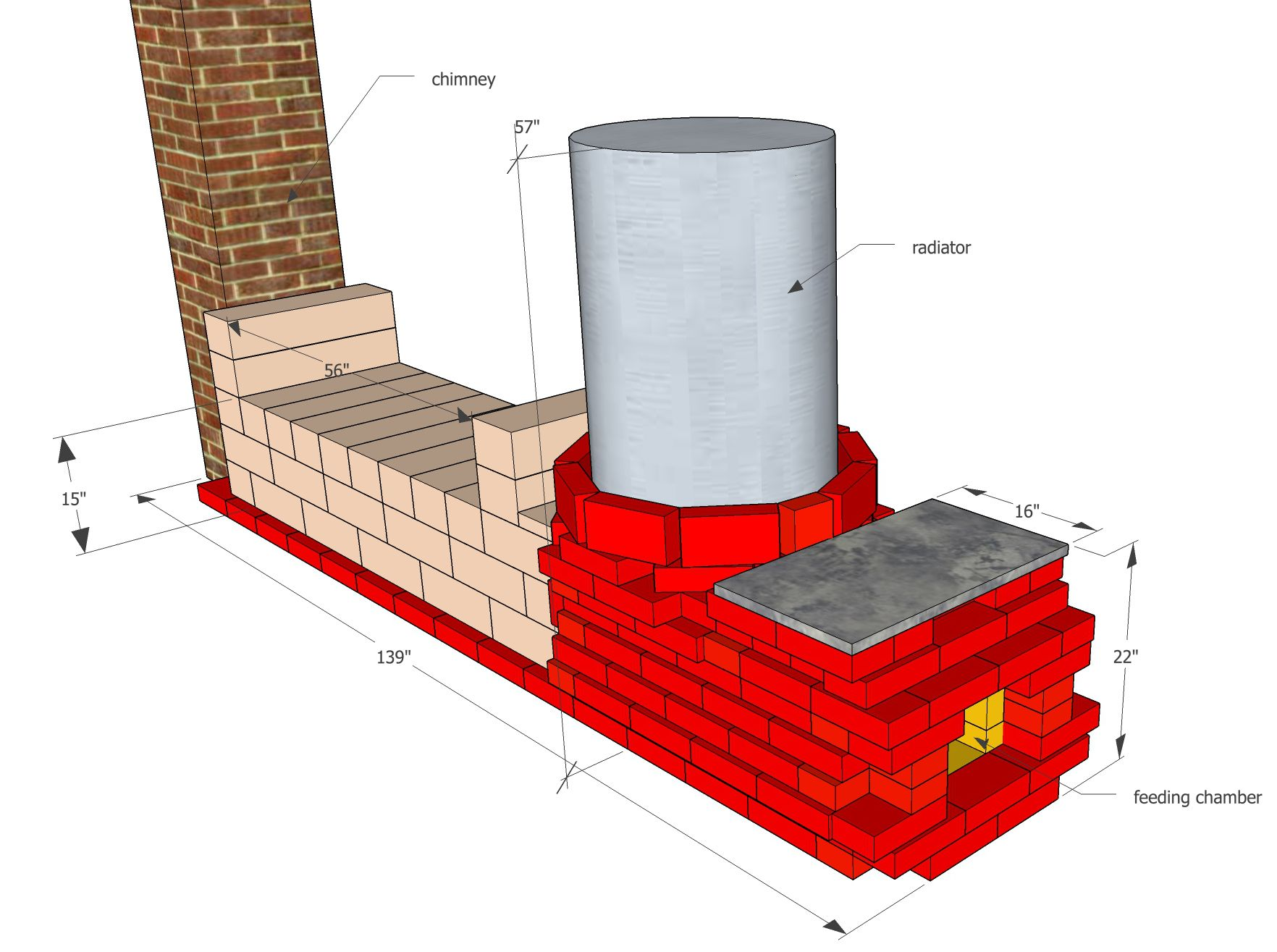 Rocket mass heater built with bricks and rock blocks for Thermal mass heater plans
