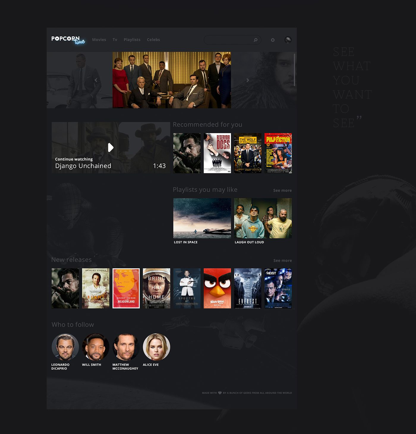 PopCorn Time Redesign on Behance Disenos de unas, Diseño web