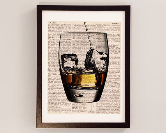 Whisky vendimia Diccionario Print coctel Art Print por DictionArt