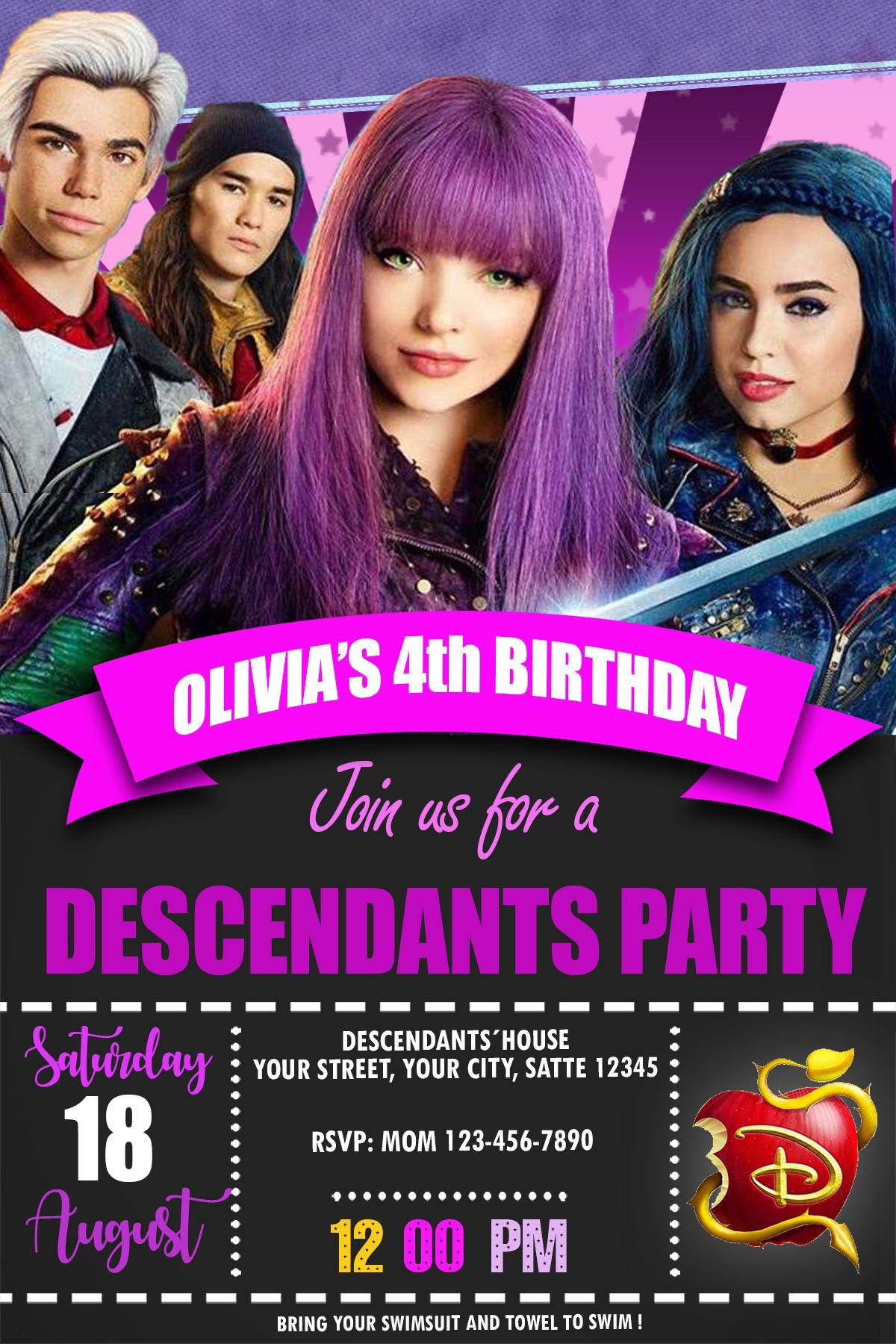 DESCENDANTS BIRTHDAY PARTY INVITATION INVITE BIRTHDAYPARTY BIRTHDAYINVITATION BIRTHDAYINVITE PAPERGOODS