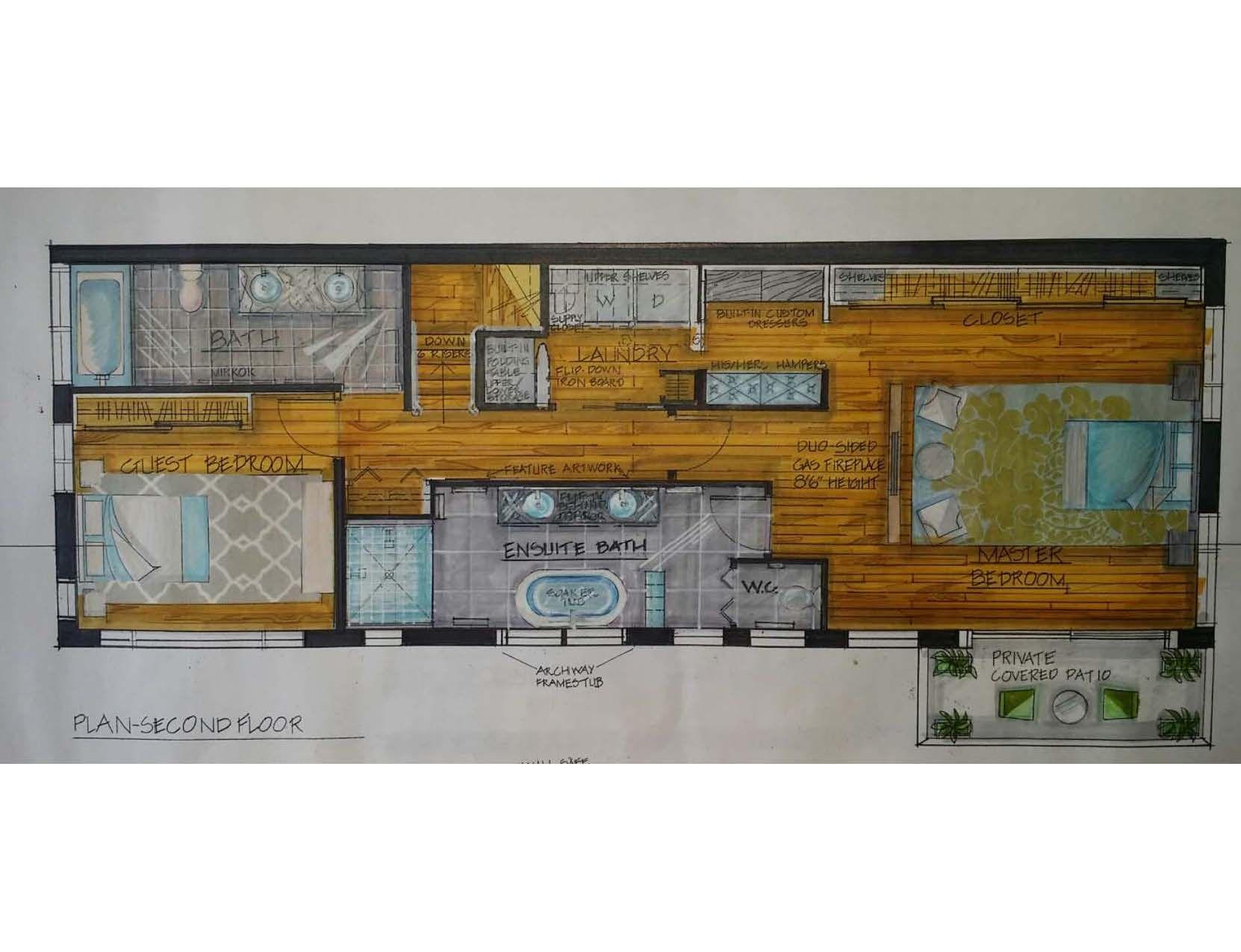 2nd floor townhouse floorplan fully hand rendered
